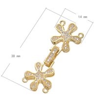 Wholesale Real Gold Clasps Wholesale - Brass Fold Over Clasp Flower Real Gold Plated With Connector Bar & Micro Pave Cubic Zirconia & 2 2 Loop 14x38mm 10PCs Lot