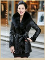 Wholesale Women Genuine Leather Jacket Large - Women Parkas Jacket Super large Natural FOX fur collar Winter Mink fur Coat Genuine sheepskin leather cotton-padded jacket outerwear