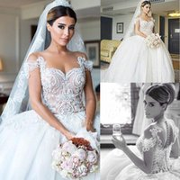 Wholesale Lace Nude Wedding Gown - 2015 Ball Gowns Wedding Dresses Sheer Crew Neckline Pearls Beaded Embroidery Ivory over Nude Chapel Train Tulle Wedding Dresses dhyz 01