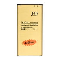 batería de oro para galaxy s5 al por mayor-Batería de oro de alta capacidad para Samsung Galaxy S5 i9600 4200mAh Sin NFC