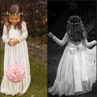 Wholesale Cheap Baby Ribbon - 2015 Lace Long Sleeve White Girl Flower Dresses Bow A line Floor Length Baby Formal Occasion Kids First Communion Birthday Party Skirt Cheap