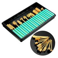 Wholesale Gold Nail Drill Bits - 12Pcs Pro Gold Coated Carbide Electric Nail Drill Bits Grinding Head Set nail tools nails limas para manicura art lixa de unha