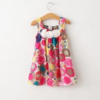 Wholesale Print Ink Wholesale - 2015 Summer Girls Clothes Suspender Dresses Children Clothing Ink Painting Dots Sleeveless Flowers Dress Kids Lovely Printing Dressy H3104