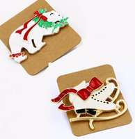 Wholesale Shoe Brooches Clips - 12Pcs   Lot Trendy Gift White Enamel Red Bow White Shoes & Polar Bear Brooch Buckle Collar Clip For Christmas Xmas DIY Jewelry