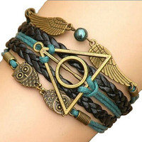 Wholesale Harry Potter Leather Bracelets - 2015 Multilayer Braided Bracelets , Vintage Owl Harry Potter wings infinity bracelet, Multicolor woven leather bracelet & Bangle