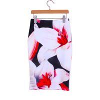 Wholesale Lady S Bottom Skirt - Wholesale- 3D big flowers print girls mide faldas ladies pencil skirts 2016 fashion design fashion women slim bottoms drop free shipping
