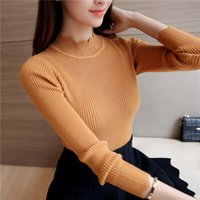 Wholesale sweater colors turtleneck for sale - 2017 Korean Fashion Women Sweaters Pullovers Sueter Mujer Ruffled Sleeve Turtleneck Solid Slim Sexy Elastic Women Tops Colors