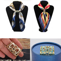Wholesale Jewelry Holders Wholesale China - Mix color Hand-painted Butterflies Rhinestone scarf buckle rings holder for Lady jewelry brooch Valentine's day gift