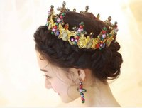 Wholesale Girls Acessories - Cheap Mulity-color Bride Crowns Colorful Beads Rhinestones Girl Party Evening Headpieces Bridal Acessories Tiaras Free Shipping In Stock SHJ