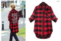 Wholesale Women Checked Shirts - women plus size check shirt high low hem open stitch brief fashion 5 sizes&2 colors, free shippin