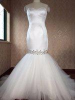 Wholesale Top Quality Satin Mermaid - Mermaid Wedding Dress 2016 Top Quality New Beaded White Wedding Gowns Custom Made vestido de casamento
