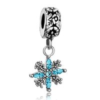 Metals spacer manufacturers - Professional manufacturer Christmas snowflake Dangle Spacer metal slide bead European charm fit Pandora Chamilia Biagi charm bracelet