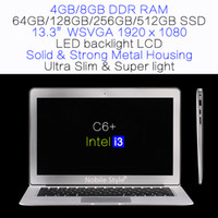 DHL-Delivery-in-Stock 13.3inch IPS Intel i3 8GB Ram 512GB SSD disque dur portable LED arrière LCD Windows7 Win8 Notebook Ultra mince (C6 + i3)
