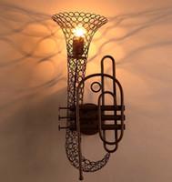 Wholesale Table Wall Lighting - Retro Creative Saxophone Wall Lights Vintage Loft Bar Hotel Table Lights Bookstore Wall Lamp Lighting fixture Wall Lights