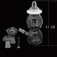 Wholesale Mini Bottles Nail - Glass Water Pipes Mini Baby Bottle Glass Bongs Joint 14.5mm Ash Catcher Bubbler Pipes Glass Oil Rigs with Dome Nail Bowl (12h0042