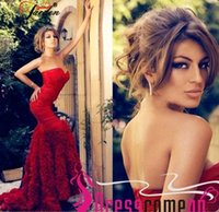 Wholesale Nude Hottest Strapless - Hot Red Sweetheart Mermaid Evening Dresses 2016 Gorgeous Strapless Ruffle Sweep Train Prom Gowns Pageant Party Dresses Formal Evening Gowns