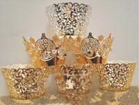envoltórios de ouro venda por atacado-Chegam novas Envoltórios do envoltório Do Queque Do Queque De Ouro Cupcake De Chocolate Casos Muffin Cortes A Laser Queque Casamento