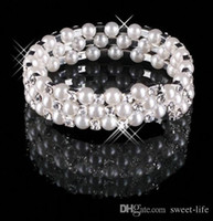 Wholesale Bracelet Cuffs - 15013 3 Row Pearls Stretch Bangle Silver Rhinestones Kids Prom Homecoming Wedding Party Evening Jewelry Bracelet Bridal Accessories 15013