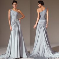 Wholesale Make Up Brush Purple 16 - 2015 Best selling One shoulder A line Brush Satin-chiffon Silver Long Prom gowns Ruched Sexy Evening dresses Plus size Mother of the bride