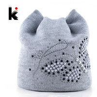 Wholesale diamond ear cap - Wholesale- Winter Cat Beanie Hat Ladies Knit Hats For Women Beanies Caps Pearls Butterfly Diamond Beanie Touca Knitted Cap With Ear Flaps