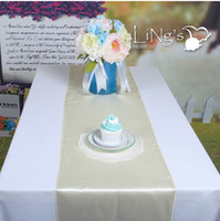 """Wholesale Ivory Wedding Table Runners - 12""""X108"""" High Grade Ivory White Satin Table Runners Wedding Banquet Centerpieces Table Cloth For Party Supplies Free Delivery"""