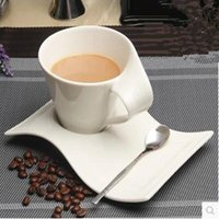 Atacado - 2017 European White Ceramic Bone China Coffee Cup Copa do leite Creative Wave Type Coffee Cup