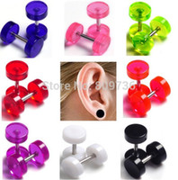 Wholesale Neon Piercing - 2pcs Hot Fashion Round Earring Fake Ear Plug Stud Neon Acrylic 8mm Taper Cheater Expander Body Piercing Free Shipping
