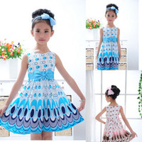 Wholesale Korean Cute Dress Lines - 2015 Summer Girls Dress cute peacock color sleeveless princess dress fashion korean children's dress C001