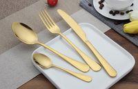 Wholesale stainless steel forks - High-grade Gold Cutlery spoon fork knife tea spoon Matte Gold Stainless Steel Food Silverware Dinnerware Utensil