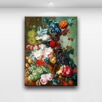 Wholesale realistic oil painting - European Realistic Flower And Fruit Combination Picture Modern Wall Oil Painting Printed On Canvas For Bedroom Living Room Home Decoration