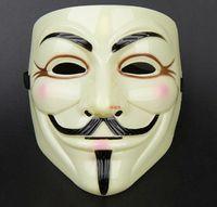 ingrosso costumi gialli-10 pz nuovo arriva V per Vendetta Maschera Gialla con Eyeliner Nostril Anonimo Guy Fawkes Fancy Costume Adulto Maschera di Halloween D168