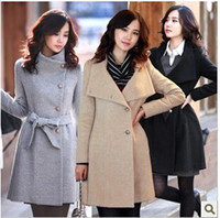 Wholesale Standing Collar Peacoat - 3 Colors Womens Elegant Warm Coat Slim Fit Trench Long Jacket Outwear Sweety Lady Overcoat Peacoat With Belt