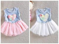 Wholesale Tutu Heart Dress Loving - love heart dress for girls Denim Suspender Dress Baby Girl sundress girls denim tutu dress free shipping
