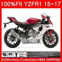 Wholesale Yamaha R1 Red White - Injection Body For YAMAHA YZF Dark red white 1000 YZF R 1 YZF-1000 YZF-R1 15 17 87NO19 YZF1000 YZF R1 15 16 17 YZFR1 2015 2016 2017 Fairing
