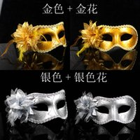 Wholesale Cheap Christmas Painting - 2015 Color Painting Princess Flower Masks Women Half Face Fashion Halloween Masquerade With Edge Party Mask 10Pcs lot Many Colors Cheap