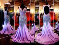 Wholesale Chiffon Celebrity Open Back - 2016 Arabic Luxury crystal beads Evening Dresses Purple Prom Pageant Dress Sweetheart Cap sleeves Keyhole open back Celebrity gowns BA1532