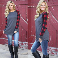 Wholesale Panel Shirt - S-5XL Plaid Panel Raglan Sleeve T-shirt for Women Autumn Winter Plus Size Casual Shirt 3 Colors