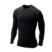 Wholesale Long Sleeve Thermal Wholesale - Wholesale-New 2015 T-shirt Men Base Layer Thermal Under Top Bodybuilding Skinny Gym Long Sleeve Sport Shirt Skins Gear Cool Dry Plus Size