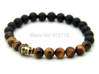 Wholesale Buddha Stone Antique - 2015 New Design Jewelry Wholesale 8mm Tiger Eye Stone Beads with Matte Agate Antique Bronze Yoga Buddha Bracelets, Mens Bracelet