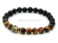 ingrosso perline in bronzo-2015 nuovi monili all'ingrosso di disegno 8mm Tiger Eye Stone Beads con bronzo opaco antico agata Bronzo Buddha Bracciali, Mens Bracciale