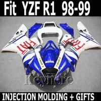 kit de carenado yzf r1 fiat al por mayor-La mejor calidad de moldeo por inyección para YAMAHA R1 carenado kit 1998 1999 FIAT azul blanco YZF R1 carenado 98 99 SD19