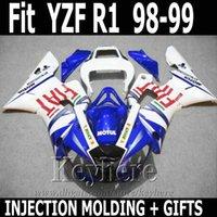 kit de carenagem yzf r1 fiat venda por atacado-Melhor qualidade Injecção para YAMAHA R1 carenagem 1998 1999 FIAT azul branco YZF R1 carenagens 98 99 SD19
