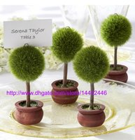 Livraison gratuite 50pcs Wedding Favors Gift Green Potted Plantes Place Card Holder For Green Theme Topiary Tree Place décoration de mariage