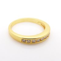 Wholesale 24k Gold Plated Wedding Bands - new women simple style design 24k yellow gold filled channel set Austrian crystal rings jewelry multi size