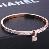 Wholesale European Exaggerated Rose Gold Engraved key Bangle Bracelet Women Valentine s Day Gift For Girlfriend bracelets bangles titanium