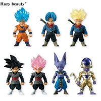 Hazy beauty 7Pcs / Set Dragon ball Z DBZ Super Adverge 4 Rose Black Goku Trunks Bills PVC Рисунок Игрушки Куклы