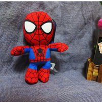 Wholesale Stuffed Spider Baby Toy - Wholesale-Free shipping 3PCS lot 20cm Iron man+spider man plush stuffed baby toy cartoon action figure dolls