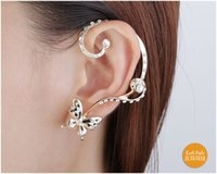 Wholesale Silver Butterfly Ear Cuff - Global low-cost The European version of personality lovely butterfly ear hanging earrings are high-grade alloy 18K gold earrings wholesale m