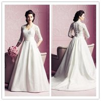 Wholesale custom h3 - Sheer 2017 Vintage Wedding Dress A line Lace Sheer Neck Wedding Dress Cap Sleeve Lace Floor Length Hollow Ribbon Court Train Bridal Gowns H3