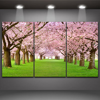 Wholesale Live Cherry Blossom - Cherry Blossom Picture Sakura Tree Landscape Painting Print on Canvas Wall Picture Home Living Office Mural Decor